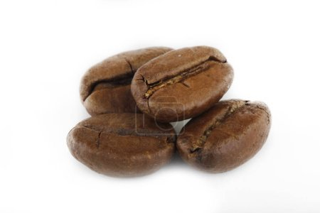 Photo for Closeup of coffee beans isolated on white background - Royalty Free Image