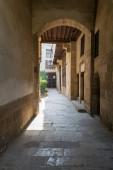 Stone bricks vaulted entrance of historic Beit El Sehemy house, Cairo, Egypt