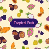 Vector illustration with the image of brightly colored tropical fruits  seamless patern