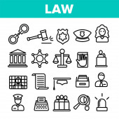 Law and Order Linear Vector Icons Set