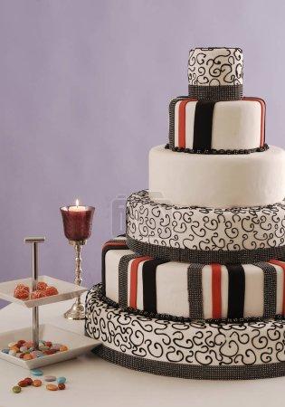 Photo for Beautiful wedding cake  on background - Royalty Free Image
