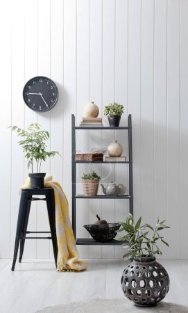 Photo for New modern shelf with vases in  modern interior - Royalty Free Image