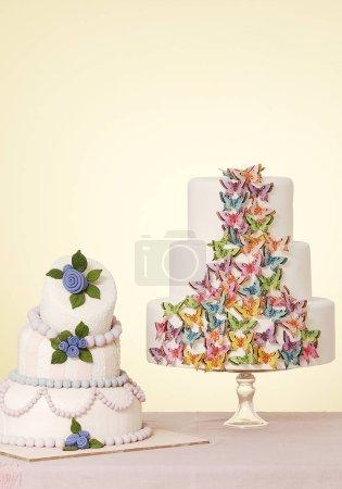 Photo for Beautiful wedding cakes  on background - Royalty Free Image