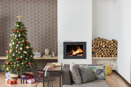 Photo for Modern living room decorated for Christmas and new year interior with  Christmas tree - Royalty Free Image
