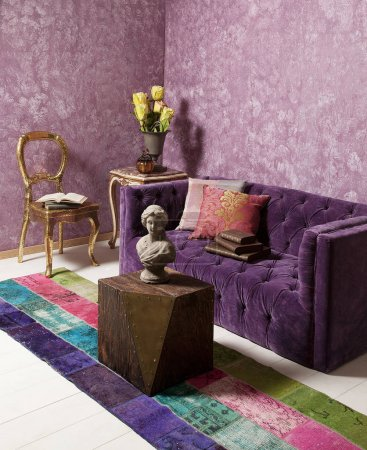 Photo for Purple sofa in the room and wallpaper decoration. - Royalty Free Image