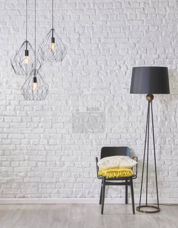 Photo for Wall and  concept interior room, decoration  , chair and lamp - Royalty Free Image