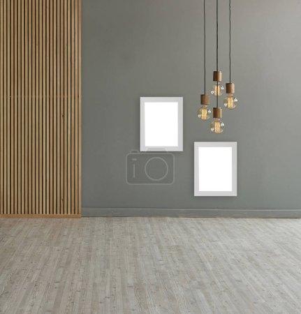 Photo pour Décoratif fond mural brun dans la chambre avec des lampes - image libre de droit
