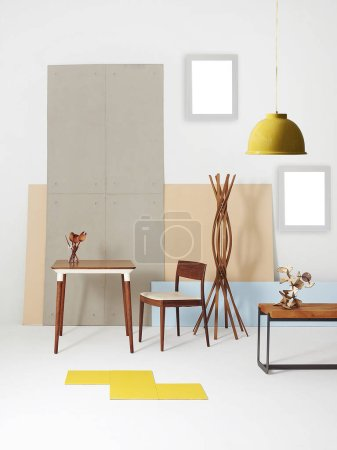 Photo for Modern home furniture decoration with chair, middle table and lamp concept, decorative wall background. - Royalty Free Image