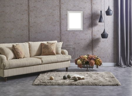 Photo for Grey wall background room, sofa carpet and lamp design. - Royalty Free Image