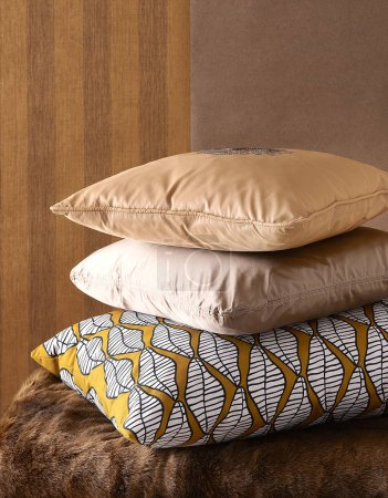 Photo for Group of pillow and blanket style wall background. - Royalty Free Image