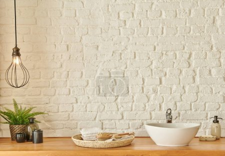 Photo for Bath room, sink and mirror decoration style, white brick wall concept interior. - Royalty Free Image