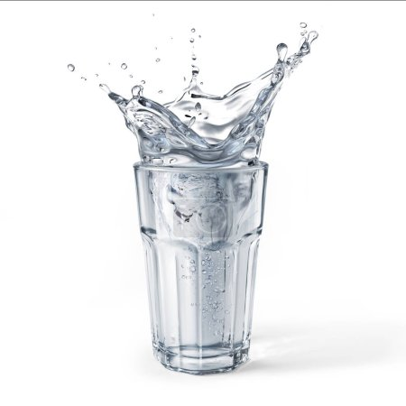 Photo for Glass full of water with splash. Isolated on white background. Clipping path included. - Royalty Free Image