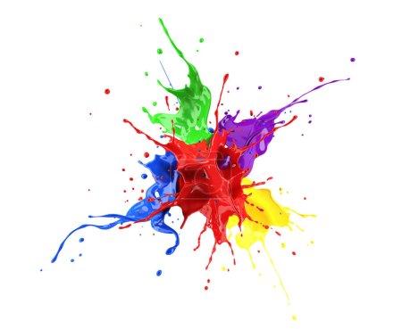 Photo pour Rouge, bleu, violet, jaune et vert peignent splash explosion, éclaboussant les uns contre les autres. isolé sur blanc. - image libre de droit