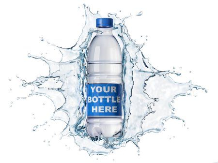 Photo for Splash of clear water with pet water bottle in the middle. isolated on white background. The bottle can be clipped and replaced with your bottle. Clipping path included. - Royalty Free Image