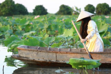 Photo for Vietnamese woman in ao dai traditional vietnamese yellow and white  dress in lotus pond with wood ancient boat. - Royalty Free Image