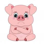 Cartoon pig with offended upset face emotion design element