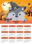 Calendar for the year 2020 Wolf in hat with Lollipop bat on night landscape Halloween house full Moon background Vector
