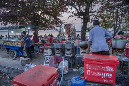 Sihanoukville, Cambodia. February 25,2019 : Scene of busy hawkers selling exotic seafood along the beach beside Phe street at Sihanoukville city.