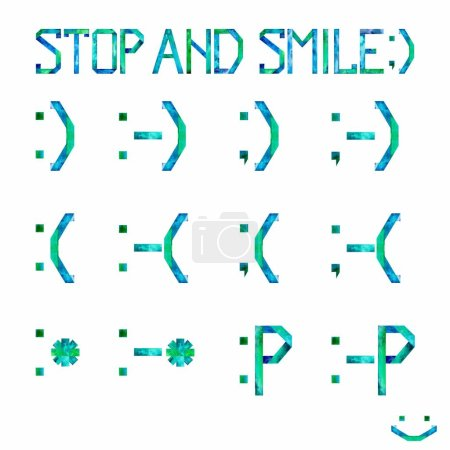 """Watercolor set """"Stop and smile"""" with happy, sad, kiss and playful smiles from punctuation marks: semicolon, colon, dash, parentheses, asterisks, and letter P on white background. Illustration."""