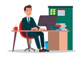 illustration of a employee working at the office
