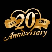 20th Anniversary Symbol with golden ribbon