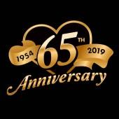 65th Anniversary Symbol with golden ribbon