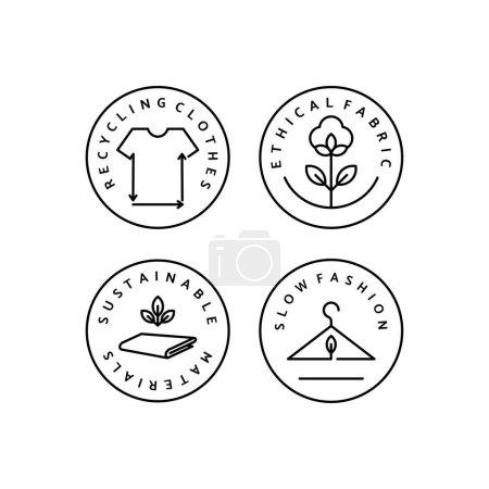 Illustration pour Set Icône linéaire mode lente. Logo vectoriel, badge pour une fabrication écologique. Symbole des vêtements naturels et de qualité. Recyclage des vêtements. Mode consciente. Matériaux éthiques et éco-durables . - image libre de droit