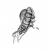 Womens hair Style braid And Hand Line Vector Illustration in a modern minimalist style