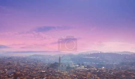 Aerial view of Florence, Tuscany, Italy. View from Cathedral Santa Maria Del Fiore. Beautiful Florence sunset skyline,