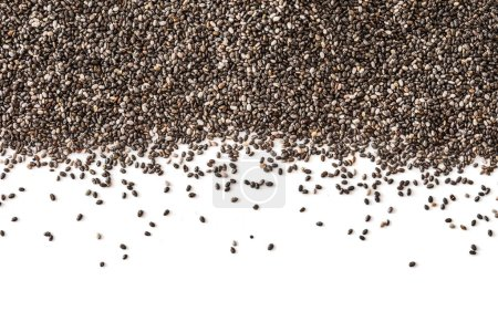 Chia seeds isolated on white background. Closeup. Top view. Chia SuperFood.  Healthy eating  concept