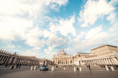 Panoramic view on Famous Papal Basilica of Saint Peter in Vatican City.