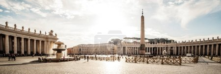 Panoramic  view on Saint Peter square of Vatican City (Piazza San Pietro),  Italy