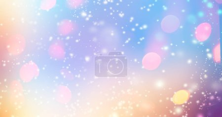 Glittering gradient background  with hologram effect and magic lights. Holographic  abstract fantasy  backdrop  with fairy sparkles, gold stars and festive  blurs.