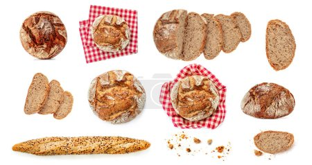 Photo for Freshly baked bread isolated on white background. Rustic wholegrain bread, round shape - Royalty Free Image