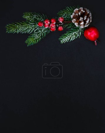 Photo for Christmas Greeting Card  with decorations and Christmas Tree Branch  on black background. New year concept.  Flat lay, top view, copy space - Royalty Free Image