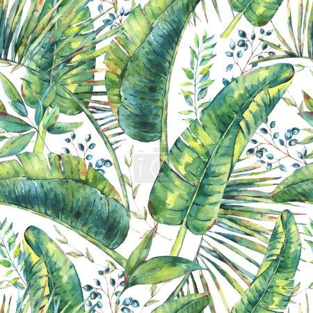 Photo pour Exotique naturel vintage aquarelle transparente de banane feuilles de modèle. Botanical Illustration naturelle sur fond blanc, vibes de verdure - image libre de droit