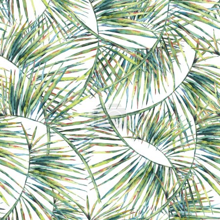 Photo for Exotic natural vintage watercolor seamless pattern of green leaves. Botanical natural Illustration on white background, greenery vibes - Royalty Free Image