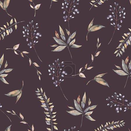 Photo pour Aquarelle vintage naturel exotique motif sans couture de feuilles vertes et de baies. Illustration botanique naturelle sur fond noir, vibes de verdure - image libre de droit