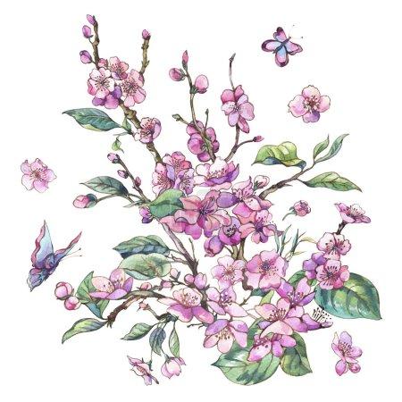 Photo pour Carte de voeux de printemps aquarelle, vintage bouquet floral avec des branches de fleurs roses de pêche cerise, poire, sakura, pommiers et papillons, fleurs isolée illustration botanique - image libre de droit