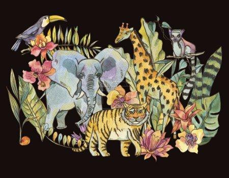 Photo pour Illustration de la jungle aquarelle, carte de voeux Tropical exotique naturelle avec des fleurs d'orchidées, monstera, palm, liane, éléphant, tigre, girafe, lémuriens et toucan isolée sur fond noir - image libre de droit