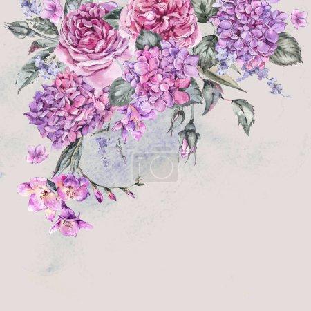 Photo pour Été aquarelle Vintage Bouquet Floral avec fleur d'Hortensia, Freesia, Roses, fleurs de jardin, aquarelle botanique Illustration naturelle isolé sur fond Beige - image libre de droit