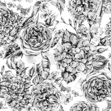 Photo pour Été Monochrome Aquarelle Vintage Floral Motif sans couture avec hortensia floraison, Freesia, Roses, les fleurs du jardin, Aquarelle Botanique Illustration naturelle sur fond blanc - image libre de droit