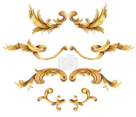 Photo pour Ensemble aquarelle baroque doré, éléments d'ornement rococo. Rouleaux d'or dessinés à la main, feuilles isolées sur fond blanc. Collection design vintage . - image libre de droit