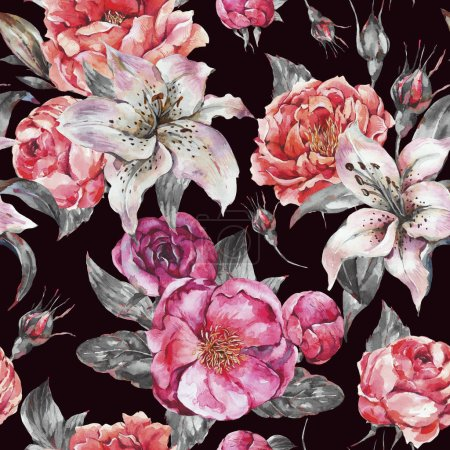 Photo for Vintage Watercolor Seamless Pattern with Blooming Flowers. Roses and Peonies, Royal Lilies. Natural botanical texture on black background - Royalty Free Image
