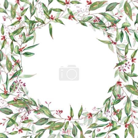 Photo pour Couronne d'eucalyptus fleurissant aquarelle, Cadre rond naturel, Invitation de mariage, Carte de souhaits aquarelle vintage, Illustration botanique isolée sur fond blanc . - image libre de droit