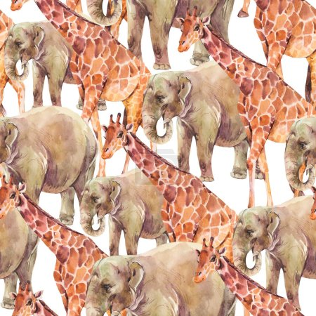 Photo for Elephant, Giraffe watercolor seamless pattern on white background. Jungle, safari animals. - Royalty Free Image