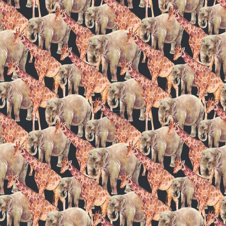 Elephant, Giraffe watercolor seamless pattern on black background. Jungle, safari animals.