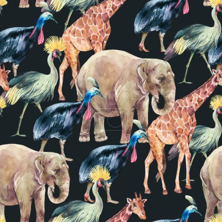 Animals watercolor seamless pattern on black background. Jungle animals, elephant,  giraffe, cassowary bird, Crowned crane wallpaper.