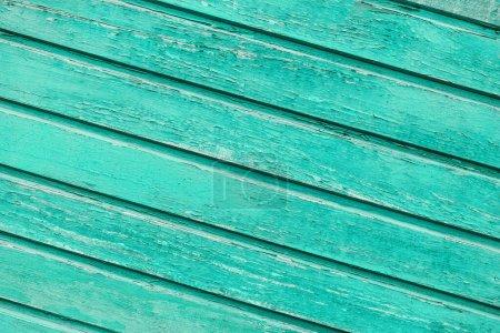Foto de Turquesa azul viejo fondo de madera de tablas. Pintura vieja, desgastada y agrietada. Color brillante . - Imagen libre de derechos