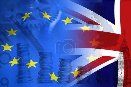European Union and British Union flag , UK Brexit, European Union broken